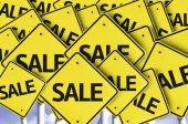 Sale written on multiple road sign — Foto de Stock