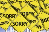 Sorry written on multiple road sign — Stock Photo