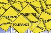 Tolerance written on multiple road sign — Stock Photo