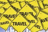 Travel written on multiple road sign — Stock Photo