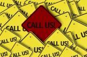 Call Us! written on multiple road sign — Foto de Stock