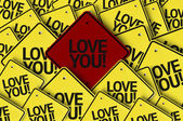 Love You written on multiple road sign — Stock Photo