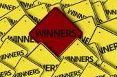 Winners written on multiple road sign — Stock Photo