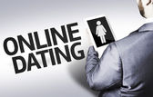 Business man with the text Online Dating in a concept image — Stockfoto