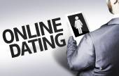 Business man with the text Online Dating in a concept image — Стоковое фото