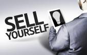 Business man with the text Sell Yourself in a concept image — Stok fotoğraf