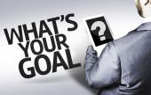 Business man with the text What's your Goal? in a concept image — Stockfoto