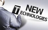 деловой человек с новыми технологиями в образе концепция текста — Стоковое фото