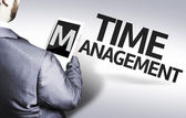 Business man with the text Time Management in a concept image — Stock Photo