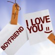 Boyfriend I Love You on Paper Note — Foto Stock #54616853