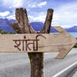 Peace (In Hindi) wooden sign — Stock Photo #54619049