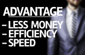 Description of Advantage written with a business man on background — Foto de Stock