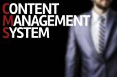 Content Management System written on a board with a business man — Foto de Stock