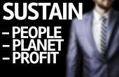 Sustain Descriptions written on a board with a business man — Foto de Stock