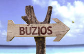 Buzios wooden sign — Stock Photo