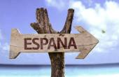 Spain (In Spanish) wooden sign — Stock Photo