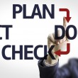 Business man pointing the text: Plan Do Check Act — Stock Photo #54627937