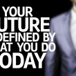 Your Future is Defined By What You Do Today written on a board — Stock Photo #54629457