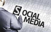 Businessman with the text Social Media — Foto de Stock