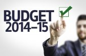 Businessman with text: Budget 2014-15 — Stock Photo