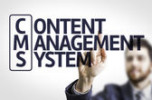 Business man pointing the text: Content Management System — Stock Photo