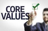 Business man pointing the text: Core Values — 图库照片