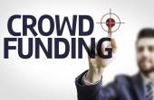 Business man pointing the text: Crowdfunding — Stock Photo