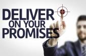 Business man pointing the text: Deliver on your Promises — Stock Photo