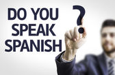 Business man pointing the text: Do you Speak Spanish? — Stock Photo