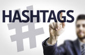 Board with text: Hashtags — Stock Photo