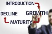 Board with text: Introduction Growth Maturity Decline — Stock Photo