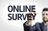 Business man pointing the text: Online Survey — Stock Photo
