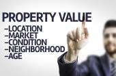 Business man pointing the text: Property Value — Stock Photo