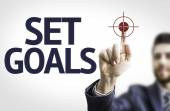 Business man pointing the text: Set Goals — Stock Photo