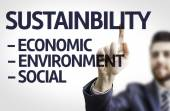 Board with text: Sustainability Descriptions — Stockfoto