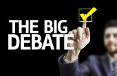 Board with text: The Big Debate — Stock Photo