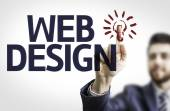 Business man pointing the text: Web Design — Foto de Stock