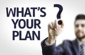Business man pointing tge text: What's your Plan? — Foto de Stock