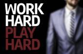 Work Hard Play Hard written on a board — Stock Photo