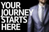 Your Journey Starts Here written on a board — Zdjęcie stockowe