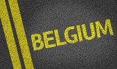 Belgium written on road — Stock Photo