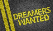 Dreamers Wanted written on the road — Stock Photo