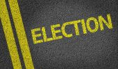Election written on the road — Stock Photo