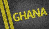Ghana written on the road — Stock Photo