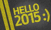 Hello 2015 written on the road — Stock fotografie