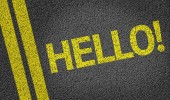 Hello! written on the road — Stock Photo