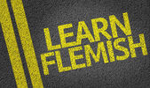 Learn Flemish written on the road — Stock Photo