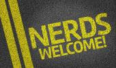 Nerds Welcome! written on the road — Stock Photo
