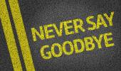 Never Say Goodbye written on the road — Стоковое фото