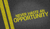 Never Waste An Opportunity! written on the road — Stock Photo